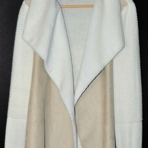 Fever Cream Sweater with Faux Suede Front-XL